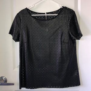 Ella Moss perforated faux leather top